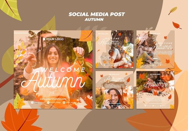 Verzameling van instagram-berichten voor het verwelkomen van het herfstseizoen