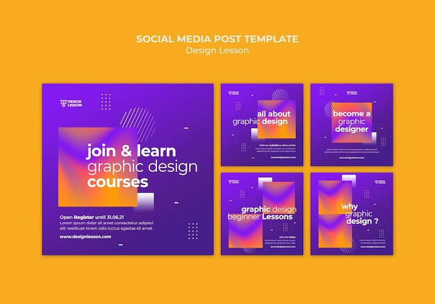 Verzameling van instagram-berichten voor lessen in grafische vormgeving