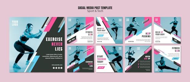 Verzameling van instagram-berichten voor sport en fitness