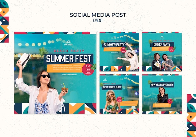Verzameling van instagram-berichten voor zomerfeest