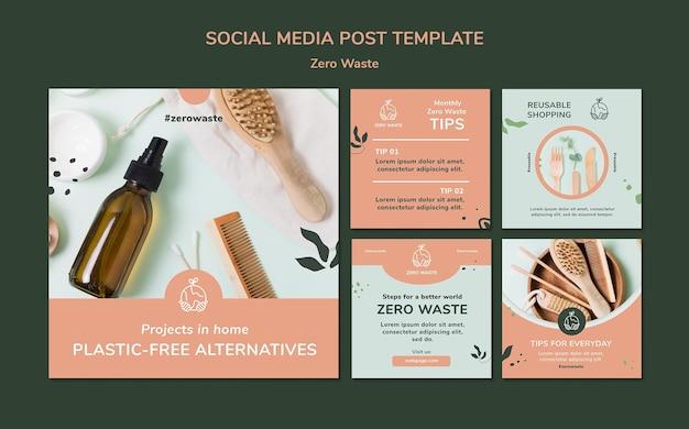 Verzameling van instagram-posts voor een levensstijl zonder afval