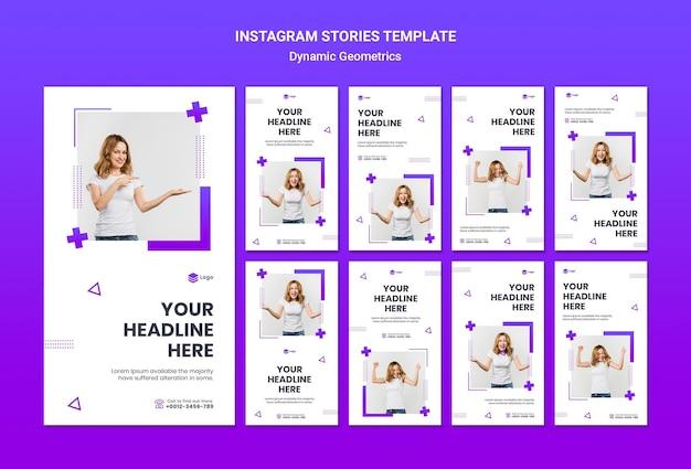 Verzameling van instagram-verhalen gratis thema met dynamische geometrie