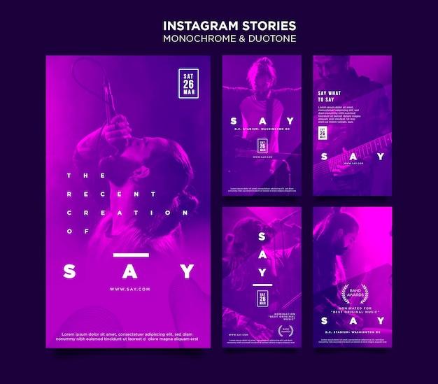Verzameling van instagram-verhalen in duotoon met muzikanten in concert