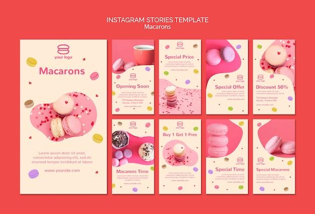 Verzameling van instagram-verhalen met macarons