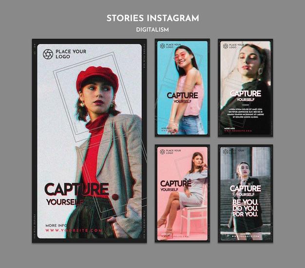 Verzameling van instagram-verhalen om het thema van jezelf vast te leggen