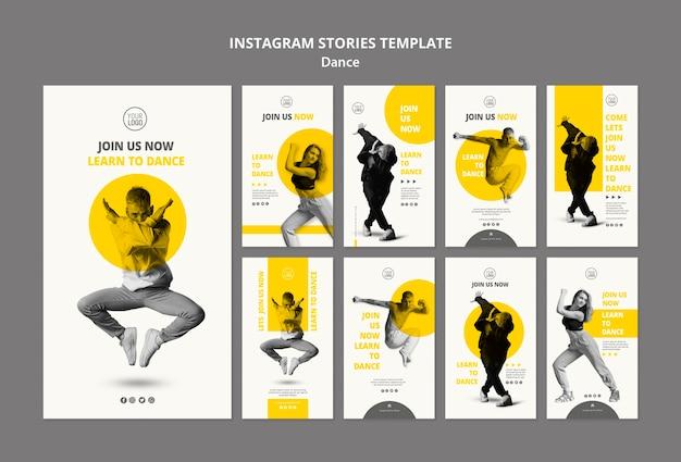 Verzameling van instagram-verhalen voor danslessen
