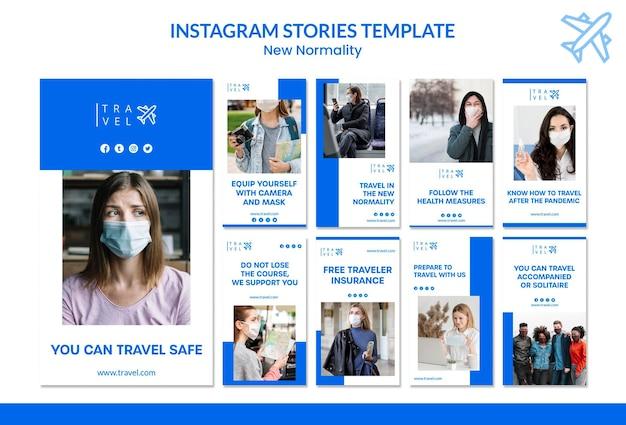 Verzameling van instagram-verhalen voor het boeken van reizen