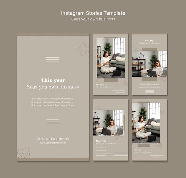 Verzameling van instagram-verhalen voor het starten van een eigen bedrijf