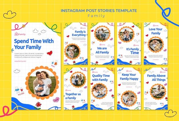 Verzameling van instagram-verhalen voor kwaliteitsvolle familietijd