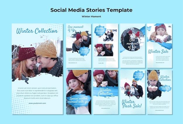 Verzameling van instagram-verhalen voor momenten van winterkoppels