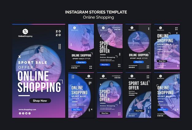 Verzameling van instagram-verhalen voor online athleisure-winkelen