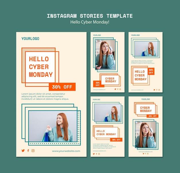 Verzameling van instagram-verhalen voor opruiming van cybermaandag