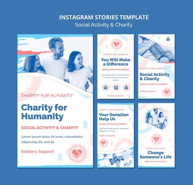 Verzameling van instagram-verhalen voor sociale activiteiten en liefdadigheid