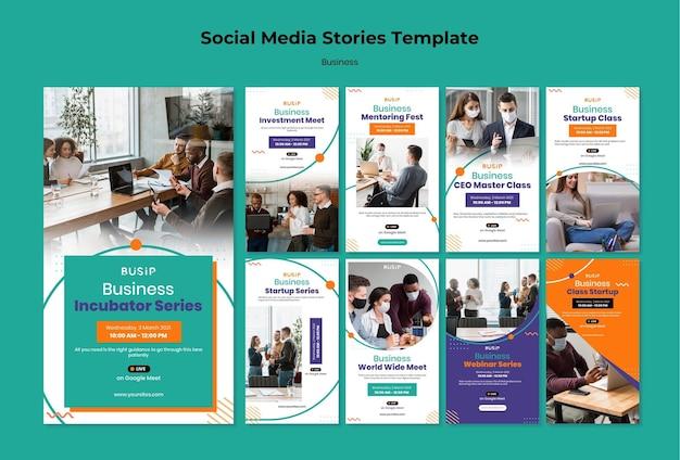 Verzameling van instagram-verhalen voor webinar en het opstarten van bedrijven