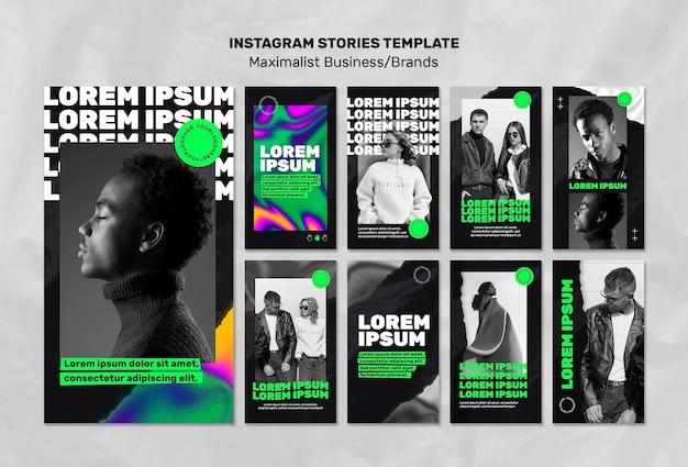 Verzameling van instagramverhalen voor maximalistische zaken