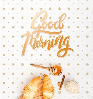 Verzameling van ochtend croissants