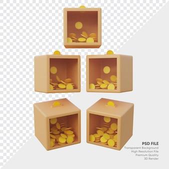 Verzameling van transparante liefdadigheidsdozen van vele kanten