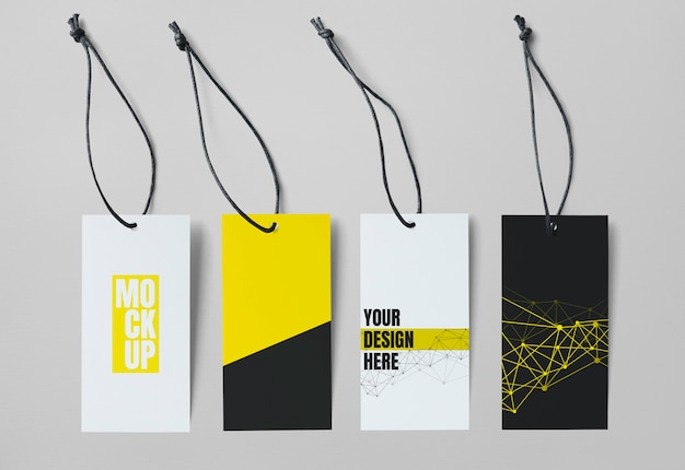 Verzameling van vier tag-mockups