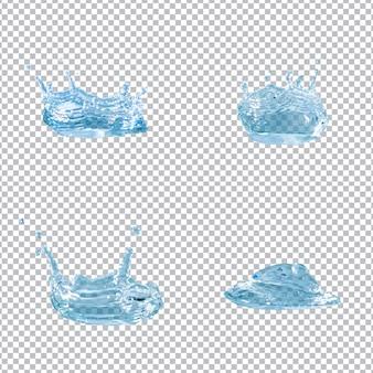 Verzameling van vier water spatten