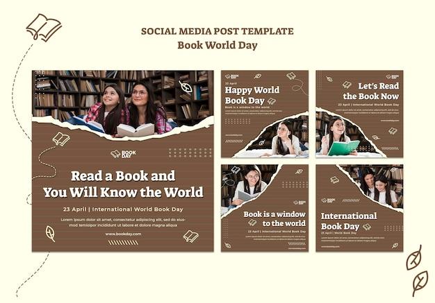 Verzameling van wereldboekdag instagram-berichten
