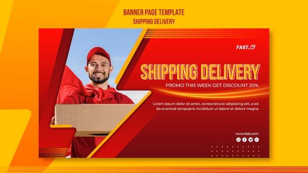Verzending levering sjabloon voor spandoek
