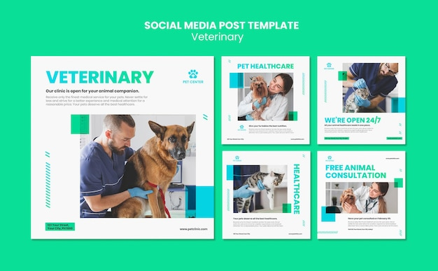 Veterinaire advertentie social media postsjabloon