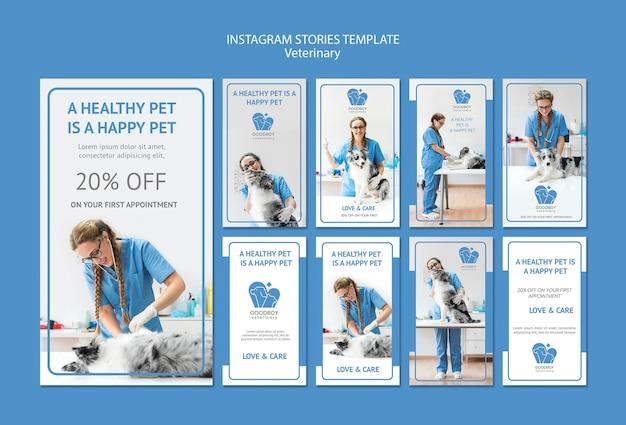 Veterinaire kliniek instagram verhalen sjabloon