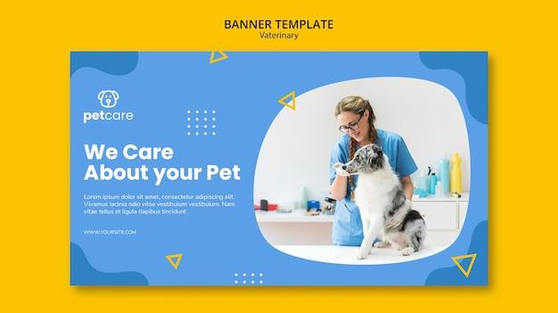 Veterinario alimentando al perro plantilla de banner veterinario