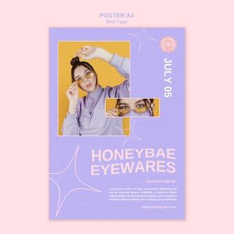 Vetgedrukte eyewares poster sjabloon