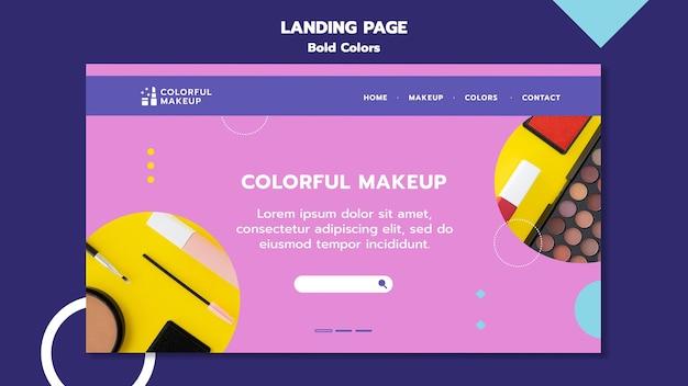 Vetgedrukte kleuren concept bestemmingspagina sjabloon