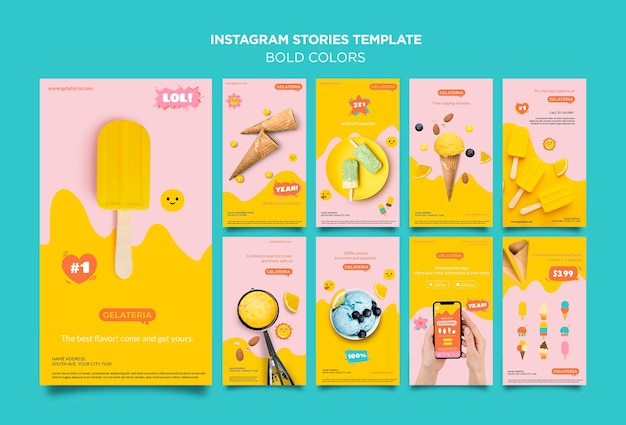 Vetgedrukte kleuren concept instagram verhalen sjabloon