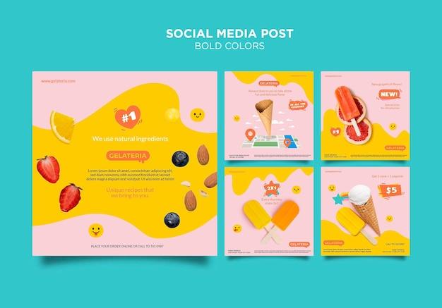Vetgedrukte kleuren concept sociale media post sjabloon