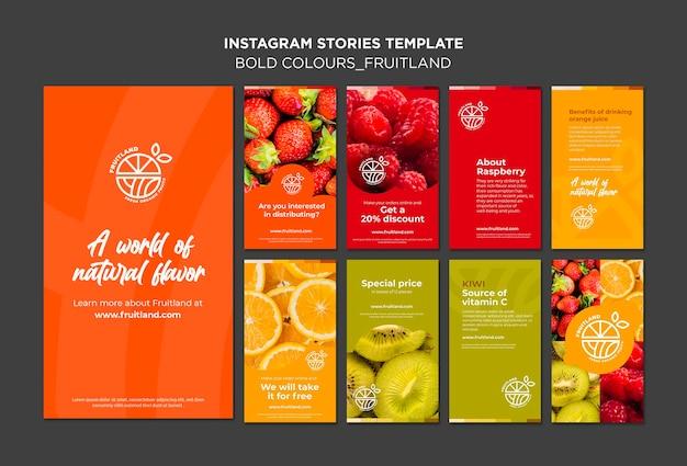 Vetgedrukte kleuren fruitland instagram-verhalen