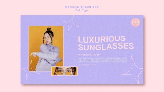 Vetgedrukte zonnebril horizontale banner
