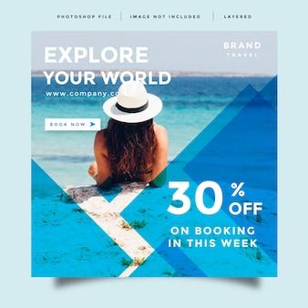 Viaggi e social media feed post promozione annuncio design