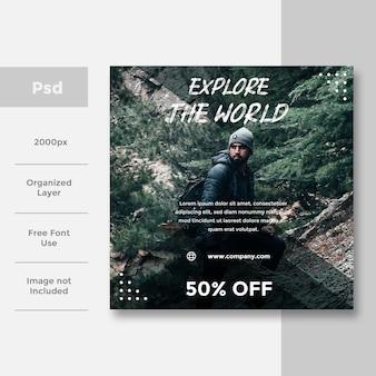 Viaggi social design di banner per social media