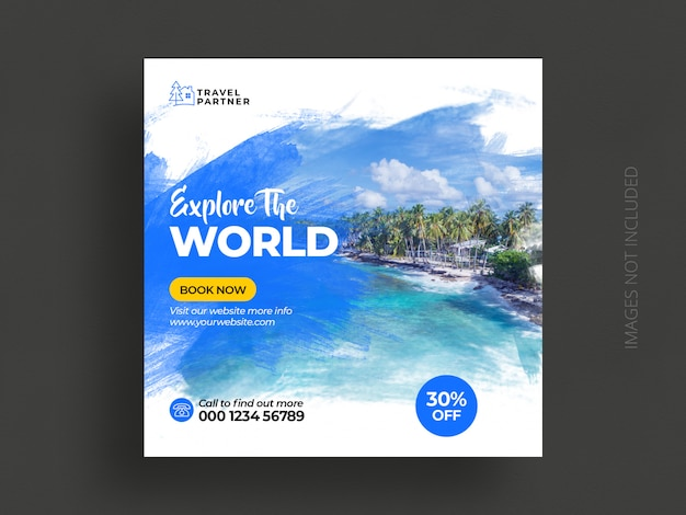 Viaggi social media post banner template o tour vacanze vacanze instagram post
