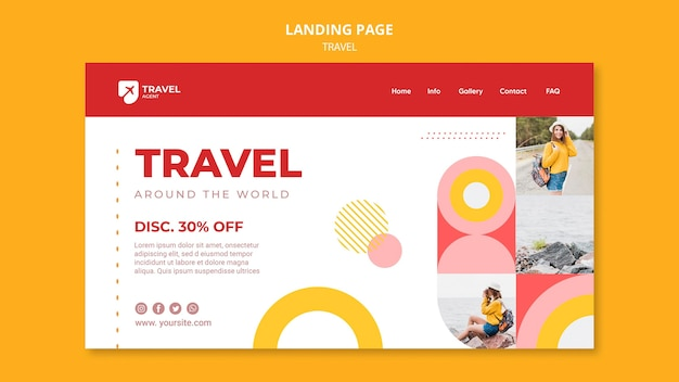 Viaja con la página de destino con descuento