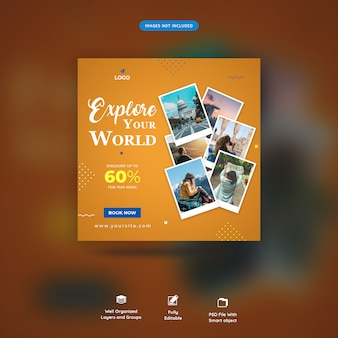 Viajes tours instagram post o plantilla de banner cuadrado premium psd