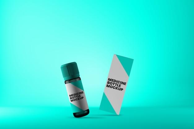 Vial de medicina inclinada y maqueta de caja