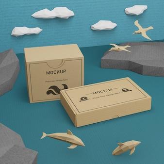Vida marina día del océano con concepto de maqueta