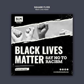Las vidas negras minimalistas importan flyer cuadrado