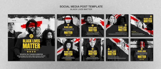 Las vidas negras minimalistas importan las publicaciones en redes sociales con foto