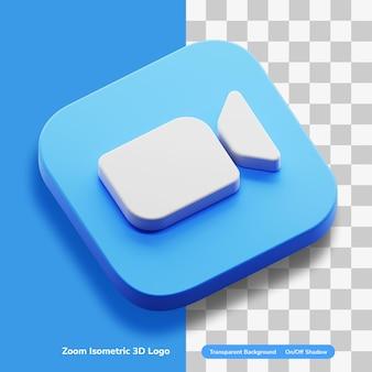 Video-app 3d creatief logo isometrisch in geïsoleerd ronde hoekvierkant