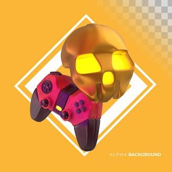 Videogame joystick met schedel. 3d illustratie