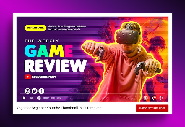 Videogame review youtube-kanaal thumbnail en webbanner