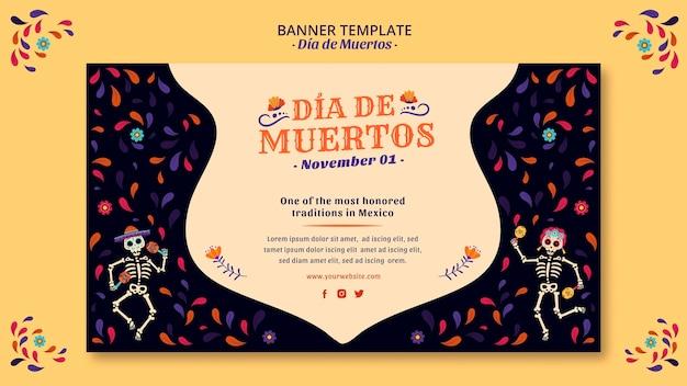 Vier de dag van de dode banner van de mexico-cultuur