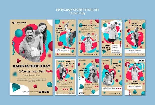 Vier de sjabloon van de daginstagramverhalen van je vader