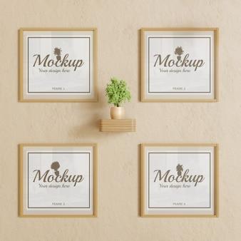 Vier frame mockup op muur