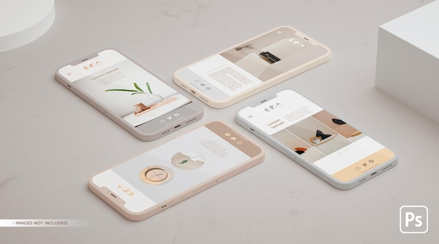 Vier mobiele telefoons mockup voor app ui ux concept en ontwerp in